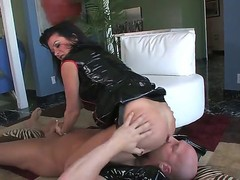 Hardcore MILF fantasy. Staring porn star Christian XXX and Raquel Devine. This is one hot movie. Just sit back and watch as this older woman squats over this studs face, and gets him to lick her tight pussy. Then she forces him to suck on her strap on, before she inserts her finger, deep in his ass.