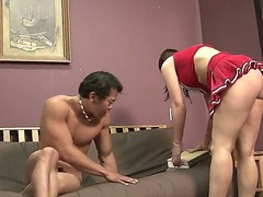 Amazing brunette cheerleader Beverly Hills is taking her school uniform off and showing her beautiful titties  to her amazing boyfriend. Enjoy the hot video.