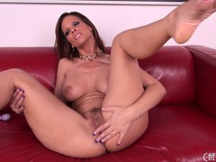 Hard case Syren spreads her legs to have better access to finger