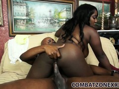 Watch Ms Sassi's big ebony ass bounce as she rides some cock