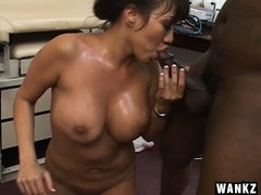Luscious Asian nurse with big tits sucks and fucks a huge black cock