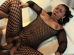 Slutty ebony babe in her fishnet body suit gets nailed by BBC in her fur pie