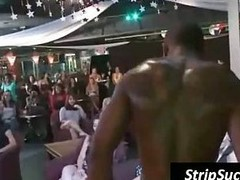 Girls having fun with a black stripper