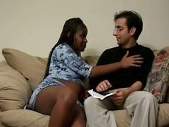 Horny Ebony Pregnant Babe Fucks Hard