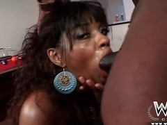Black slut in a bikini sucks on BBC